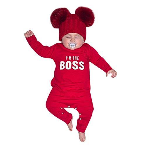 URSING Kinder Kleinkind Verriegelung Strampler Baby Jungen Super süße Buchstabe gedruckt O-Ausschnitt Soft Jumpsuit Outfits Kleidung Jogginganzug übergang Overall Klassischer Romper (70cm, Rot)