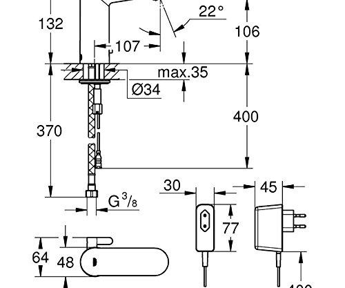 Grohe – IR Waschtisch-Sensorarmatur, Mischbatterie, mit Steckertrafo, Chrom, Eurosmart Cosmopolitan E - 2
