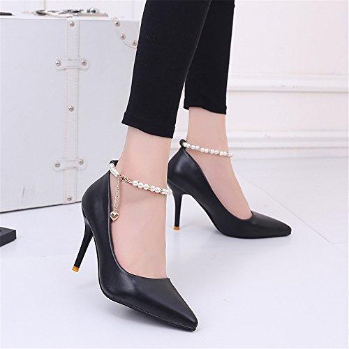 TMKOO 2017 nouvelle bouche peu profonde a des chaussures à talons hauts simples chaussures fines sexy boîte de nuit avec des lanières de perles super talons haut enfant Noir