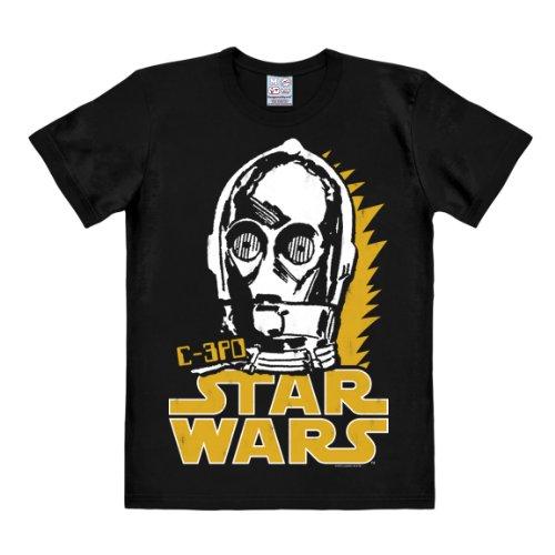 Logoshirt T-Shirt C-3PO - Krieg der Sterne - Star Wars Roboter - Droid - Rundhals Shirt schwarz - Lizenziertes Originaldesign, Größe 3XL
