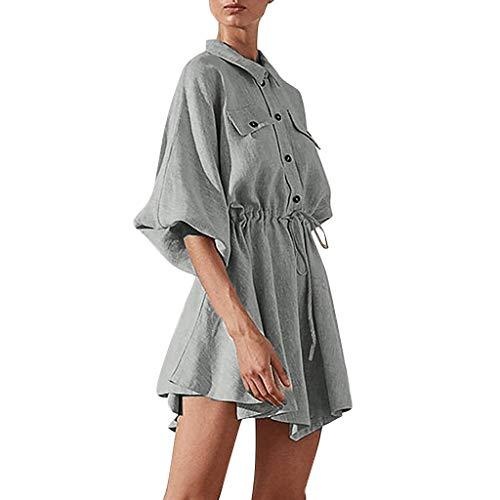 MERICAL Moda Mujer Solapa botón Color Puro Lazo Vendaje