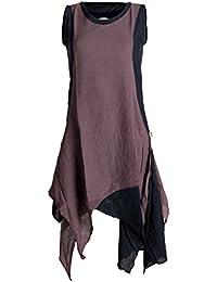 Vishes - Alternative Bekleidung – Ärmelloses Zipfeliges Lagenlook Kleid / Tunika aus handgewebter Baumwolle