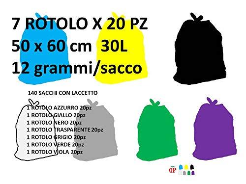 140 Sacchi PATTUME Resistenti 50x60 cm 30L 12gr/Sacco (7 Rotoli x 20 PZ) Sacchi Made in Italy per Raccolta DIFFERENZIATA IMMONDIZIA 7 Rotoli in 7 Colori
