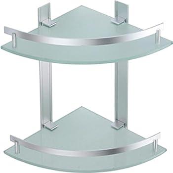 msv bad regal tabarca eckregal duschregal aus aluminium und glas kleben und bohren amazon. Black Bedroom Furniture Sets. Home Design Ideas