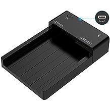 ORICO - Caja Disco Duro Externo 2.5/3.5 Pulgadas USB 3.0 Tipo C a SATA - Carcasa Externa Base de Conexión Docking Station para HDD / SSD - Soporta Hasta 8TB - LED Indicador - Negro