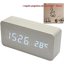 Malloom® madera temperatura Suena control Escritorio electrónica LED reloj despertador digital (blanco ...
