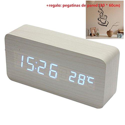 Malloom madera temperatura Suena control Escritorio electrónica LED reloj despertador digital (blanco y azul)