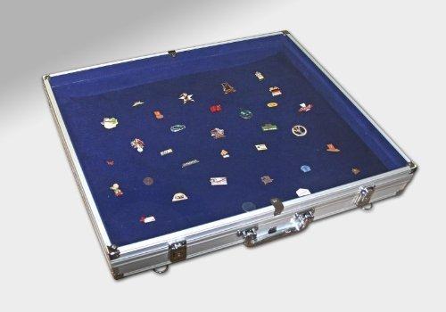 Sammelvitrine Koffer Maxi aus Aluminium, Innen blau