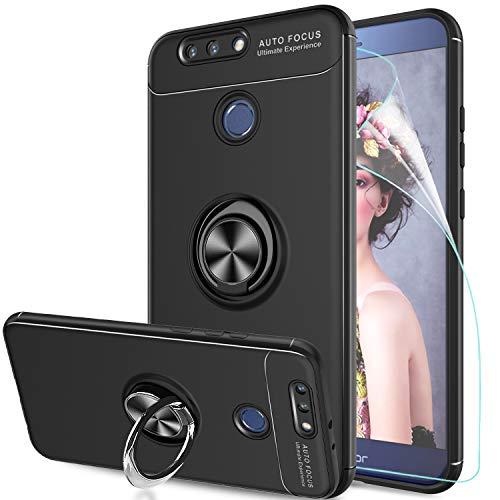 LeYi Hülle Huawei Honor 8 Pro/Honor V9 Handyhülle mit HD Folie Schutzfolie,Cover Bumper 360 Grad Ring Stand Magnetische Autohalterung Schutzhülle für Case Huawei Honor 8 Pro Handy Hüllen JSZH Schwarz