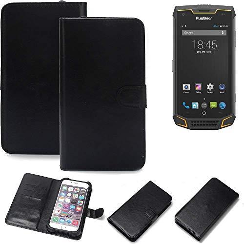 K-S-Trade Wallet Case Handyhülle für Ruggear RG740 Schutz Hülle Smartphone Flip Cover Flipstyle Tasche Schutzhülle Flipcover Slim Bumper schwarz, 1x