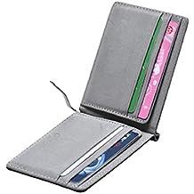 Portafoglio , Amison Uomini PU pelle Argento Soldi Clip Slim Portafogli Nero ID Credito Carta (Portafoglio Compatto)