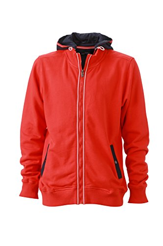 French Terry Hooded Jacket (James & Nicholson Herren Hooded Jacket Sweatshirt, Rot (Tomato/Navy), Large)