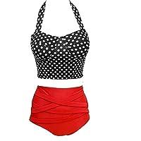 Women's Swimwear High waist Style Halter Beach Swimsuit Bikini Set