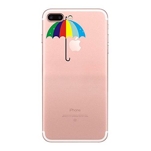 iPhone 7 plus Hülle, Schutzhülle Case Silikon- Clear Ultra Dünn Durchsichtige Backcover TPU Case für iPhone 7 plus Regenbogen Regenschirm