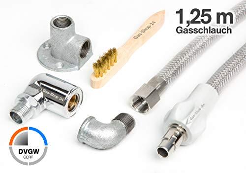 1,25 m Edelstahlschlauch/Edelstahl Gasschlauch + Gassteckdose + Anschlusszubehör (geeignet für Flüssig- / Erdgas) - f. Gasherd, Gaskocher, Gaskochmulde Kocher Gas-Steckschlauch -
