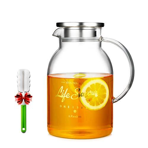 Jarra de vidrio con tapa y boquilla, 63 onzas, jarra de agua caliente y fría para té helado de zumo casero, bebida grande duradera (1800 ml)