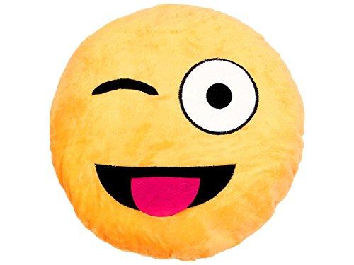 Emoji Kissen Emoticon Emojicon Lach Smiley Kissen Dekokissen Stuhlkissen Sitzkissen gelb rund, Variante wählen:Zunge raus Ki-13 von Alsino
