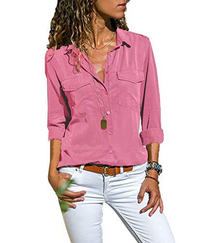 Moceal Bluse Damen Langarm Revers Kragen Hemdbluse V Ausschnitt Langarmshirts Blusen Einfarbig Business mit Knopfleiste Hemd Oberteile Elegant Herbst und Mode Sommer T-Shirt Top (XL, Pink)