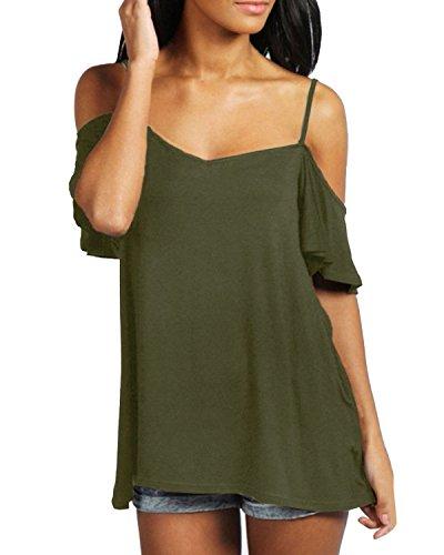ZANZEA Damen Boho Strappy Schulterfrei Kurzarm Casual Top Bluse Shirt (EU 38 / US 6, Armee-Grün) (Top Polyester-bluse)