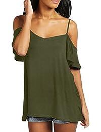 ZANZEA StyleDome Damen Sommer Kurzarm T-Shirt Rückenfrei Schulterfrei Vorne  Oberteil Casual Shirt Oversized Tops b6344ae298