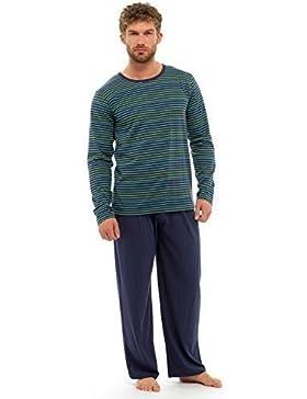 Hombres-Conjunto de camiseta de manga corta y pantalón con pijama de algodón