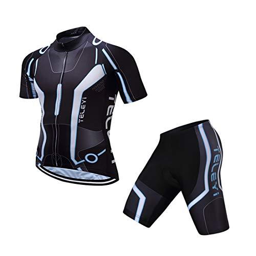 GWELL Herren Radtrikot Atmungsaktive Fahrradbekleidung Set Trikot Kurzarm + Radhose mit Sitzpolster für Radsport Schwarz (Set mit Shorts) XL