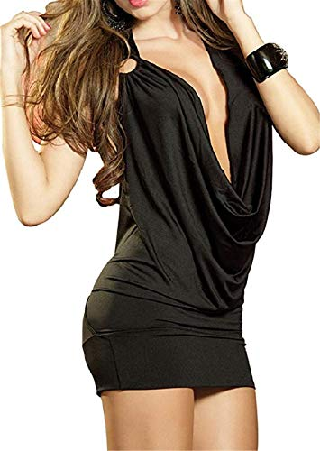 Rying Damen Deep V Halter-Wäsche-Rock Backless Hip-Huggers Club Wear (Schwarz) -