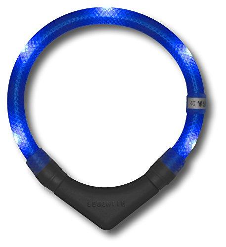 LED Leuchthalsband LEUCHTIE® Plus blau Größe 50 neues Verschlusssystem