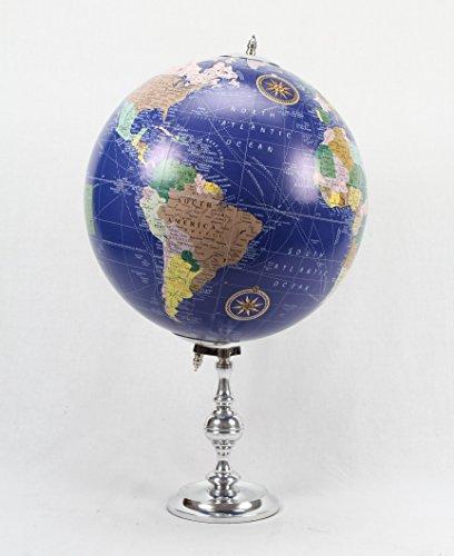 Brass & Copper Classics 12 inch Big Desktop Rotating Vintange / Antique Style Educational World Globe / Earth Globe / Political Globe / Geography Globe/ Office Globe / Home Decor / Study Globe with Aluminium Stand - Royal Blue