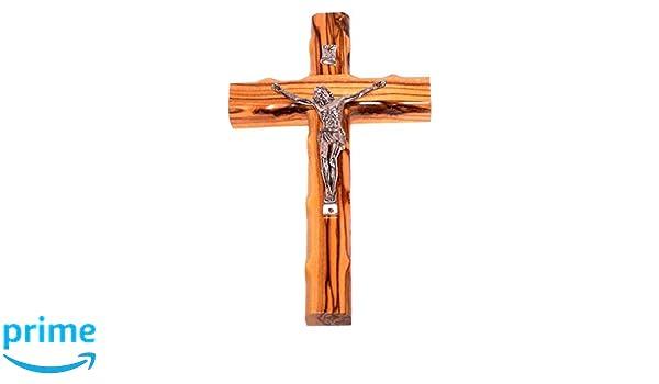 Holylandmarket en Bois dolivier Croix avec Crucifix 25,4/cm H