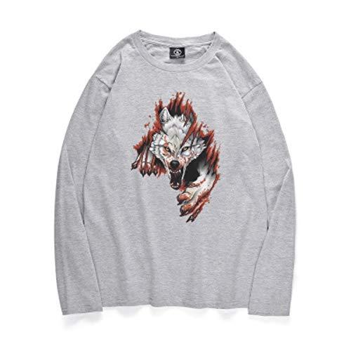 njhswlti 3D Langarm-T-Shirt,Digitaldruck-Paar-Baumwollkomfort-Sweatshirts Blut-Wolf, S -