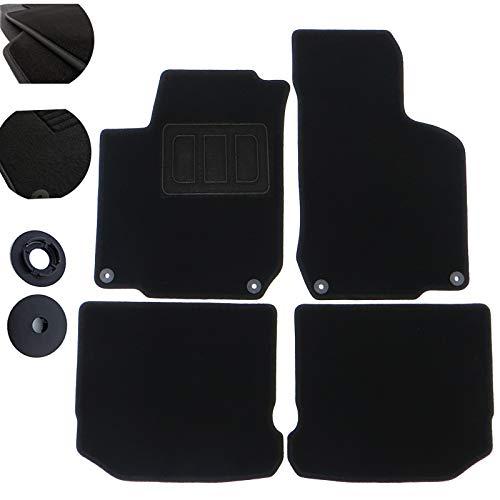 WOLTU Auto Fußmatten Autoteppich Velours 4-teilig Schwarz AM7171p