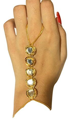 Catalyst Luxor Designer Gold Plated Kundan Haath Panja Phool (Bracelet with Finger ring) Jewellery for Women & Girls  available at amazon for Rs.199