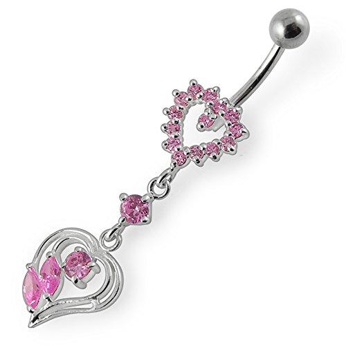 Barres de Pierre en cristal coeur tendance Design 925 argent Sterling avec le ventre en acier inoxydable Pink