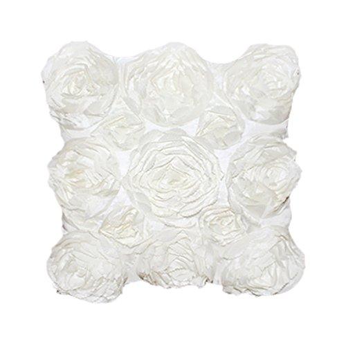 Blumen-Design Kissenbezug Leinenwurf Sofakissen Fall Bett Dekor Dunkelrosa - Weiß