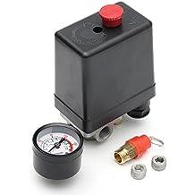 MASUNN 220V 1/4Inch Bsp 4 Puertos Compresor De Aire Monofásico Presostato con Manómetro De
