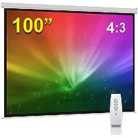 "BPS 100"" 4:3 Electric Projector Screen HD/3D/1080P Electric Motorised Matt White + Remote Control TV DVD Home Theatre/Office/Cinema"