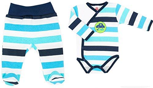 Baby-Mode Jungen Erstausstattung 2tlg. Wickelbody & Hose mit Fuß -Kollektion Classic- (56 - 68) (62) (Kleinkinder Hose Oma)