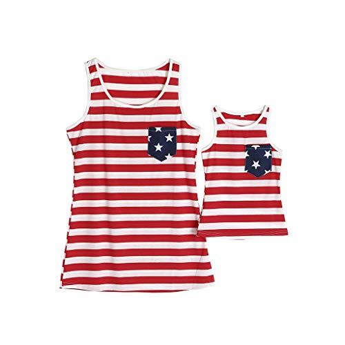 DQANIU ❤️❤️ Mama & Me Frauen Sommer ärmellose amerikanische Flagge Druck Weste 4. Juli Kleidung Bluse, Baby Mädchen Sommer ärmellose Weste amerikanische Flagge Druck Kleidung Bluse Top (3Y-8Y) (Frauen 4. Juli-outfits Für)