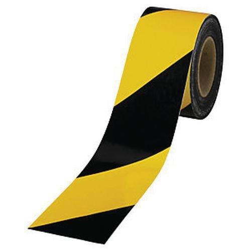 Rubalise jaune et noir 50 mm x 500 m - Ruban de signalisation de chantier, travaux, balisage - périmètre de sécurité - zone de danger - marque UNIVERS GRAPHIQUE Ref UGRUBAL04