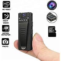 Mini telecamera DEXILIO, videoregistratore portatile wireless HD 1080P indossabile con clip, telecamera spia piccola per la sicurezza di casa e ufficio (con scheda da 32 GB)