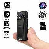 DEXILIO Mini videocamera montata su corpo, videoregistratore portatile wireless HD 1080P indossabile con clip,piccola spia spia di sicurezza per casa e ufficio (con scheda da 32 GB)