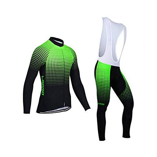 d.Stil Herren Radtrikot Set Langarm mit Sitzpolster UV Schutz für MTB Rennrad Fahrrad Jersey + Trägerhose Radsportanzug M - XXXXL (Schwarz-Grün, XXXXL)