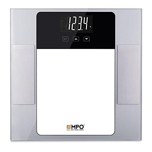 EMPO Körperfettwaage mit Hartglas - Hohe Genauigkeit Badezimmerwaage große Digitalanzeige - Messen Sie Gewicht, Körperfett, Hydratation, Muskel, Knochenmasse und täglichen Kalorienbedarf - Silber