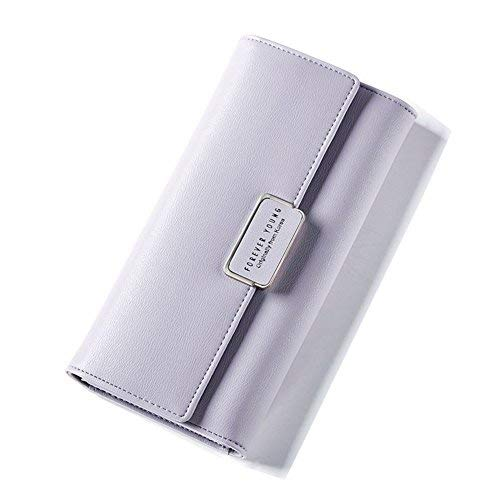 Geldbörse Damen IHRKleid® Elegant Leder Geldbeutel Süß Portemonnaie (Light purple)