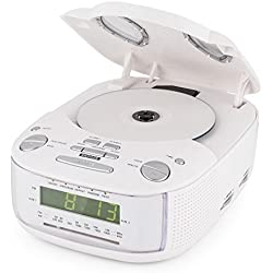 Auna Dreamee SL • Radio-réveil • Lecteur CD • Radio Tuner AM/FM • Double Alarme • Fonction Snooze • Minuterie de Sommeil • Entrée AUX • Haut-parleurs stéréo • Ecran LCD • Blanc