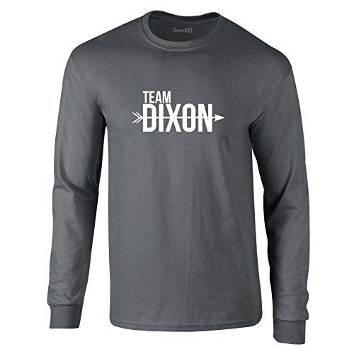 Brand88 Team Dixon, Erwachsene Langarm-T-Shirt, Holzkohle Grau/Weiß, XL -111-116cm