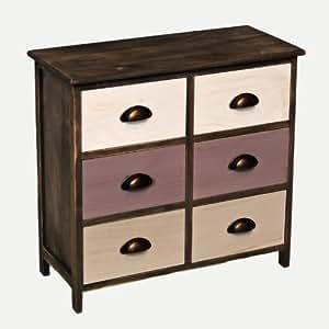 landhaus kommode flur bad schrank shabby used optik grau braun 6 schubladen k che. Black Bedroom Furniture Sets. Home Design Ideas