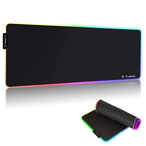 YONSY Tappetino Mouse Gaming, RGB Grande Mouse Pad 10 Effetti Luce 780x300mm Alimentato USB Tappetino per mouse Superficie Liscio Base in Gomma Antiscivolo progettato per giocatori e lavoro d\'ufficio