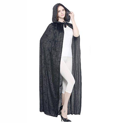 Halloween Umhang Gold Samt Party Zauberer Robe COS Dress up Kleidung (Farbe : Schwarz)
